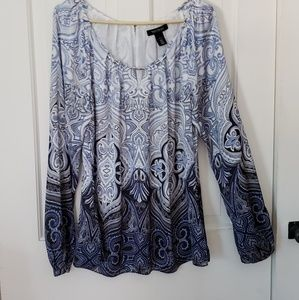 WHBM Shades of Blue Paisley Pattern Blouse